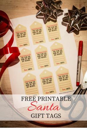 Santa's nice list gift tag free printable, free printable, printable, santa, santa's nice list, santa gift tags, gift tags, christmas gift tags, love santa