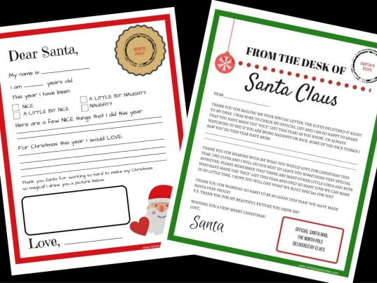 letters to/from santa free printables, letters to santa, letters from santa, santa letters, letter to santa, letter from santa, santa, write to santa, free printables, free printable, printables, printable