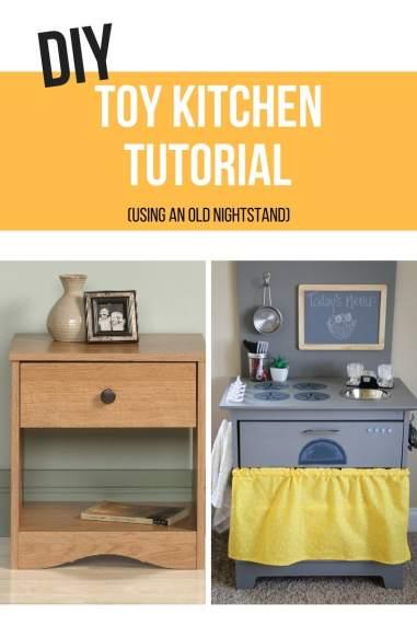 diy kitchen, diy toy kitchen, toy kitchen, furniture remodel, repurposing old furniture, toy kitchen, nightstand kitchen
