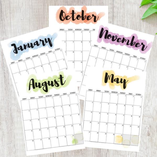2018, 2018 calendars, free printable calendars, free calendars, calendar designs, watercolor calendars