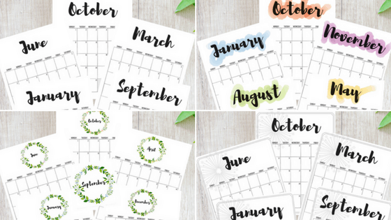 2018, 2018 calendars, free printable calendars, free calendars, calendar designs, watercolor calendars