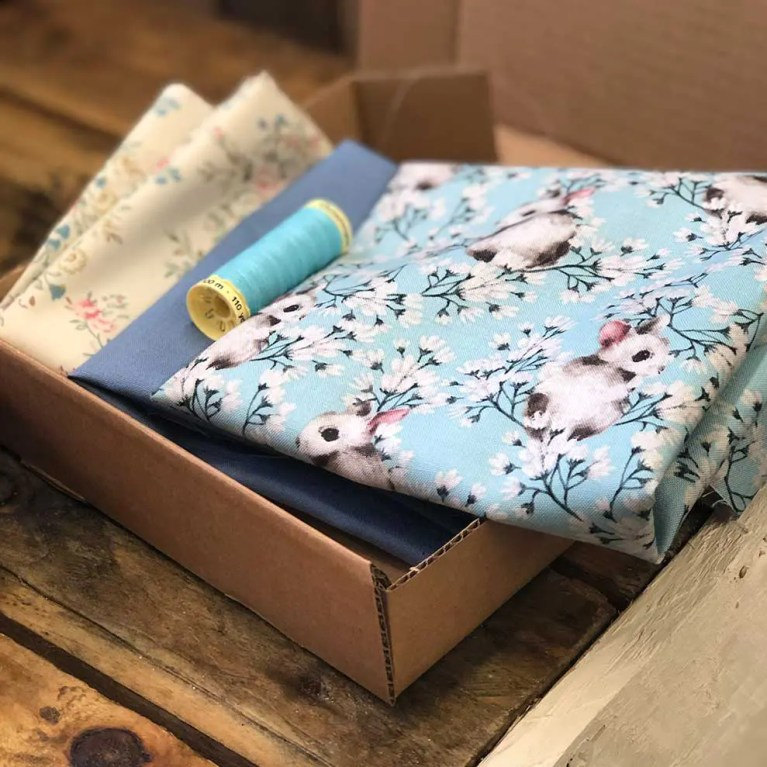 Blue patterned fabric subscription box example