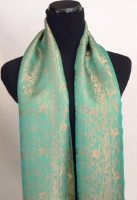 Satin Silk Scarf in Green and Gold Nature Design