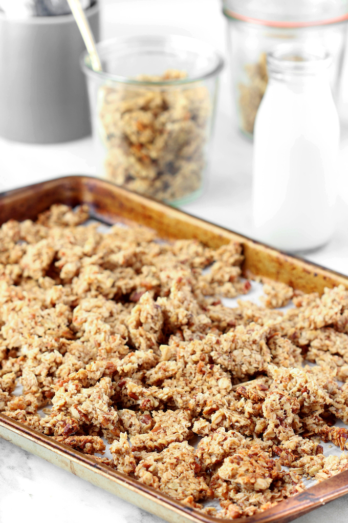 Crunchy Chunky Granola is the perfect combination of salty and sweet. Simple to make, requiring just 7 common ingredients. Make ahead, vegan, and gluten-free friendly means that everyone can enjoy!