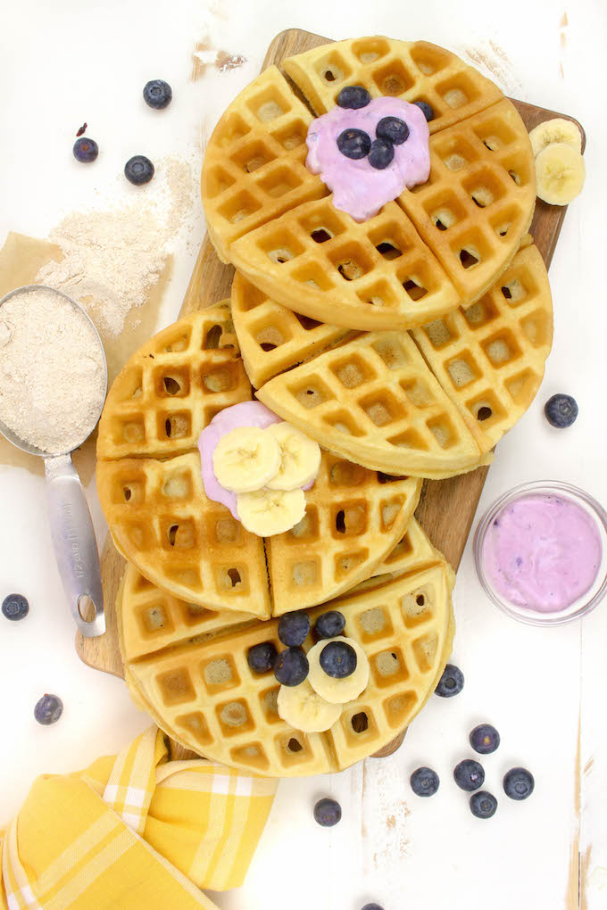 Simple Belgian Spelt Waffles made with 10 healthy real-food ingredients in just 1 bowl and 2o minutes.