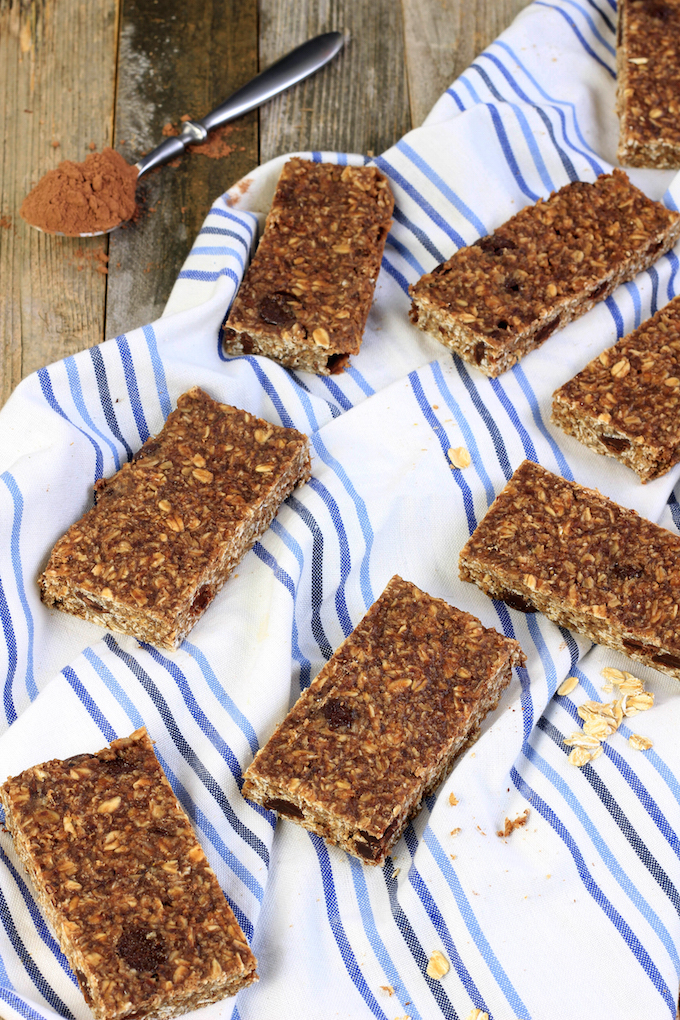 Peanut Butter Chocolate Protein Bars are simple, requiring just 10 ingredients and 30 minutes to make. #glutenfree #dairyfree #vegan