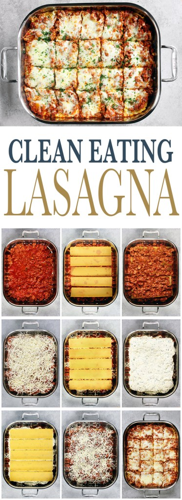 Flavorful, Clean Eating Lasagna with a zesty meat sauce, creamy ricotta and melty mozzarella. Freezer Friendly and so delicious!