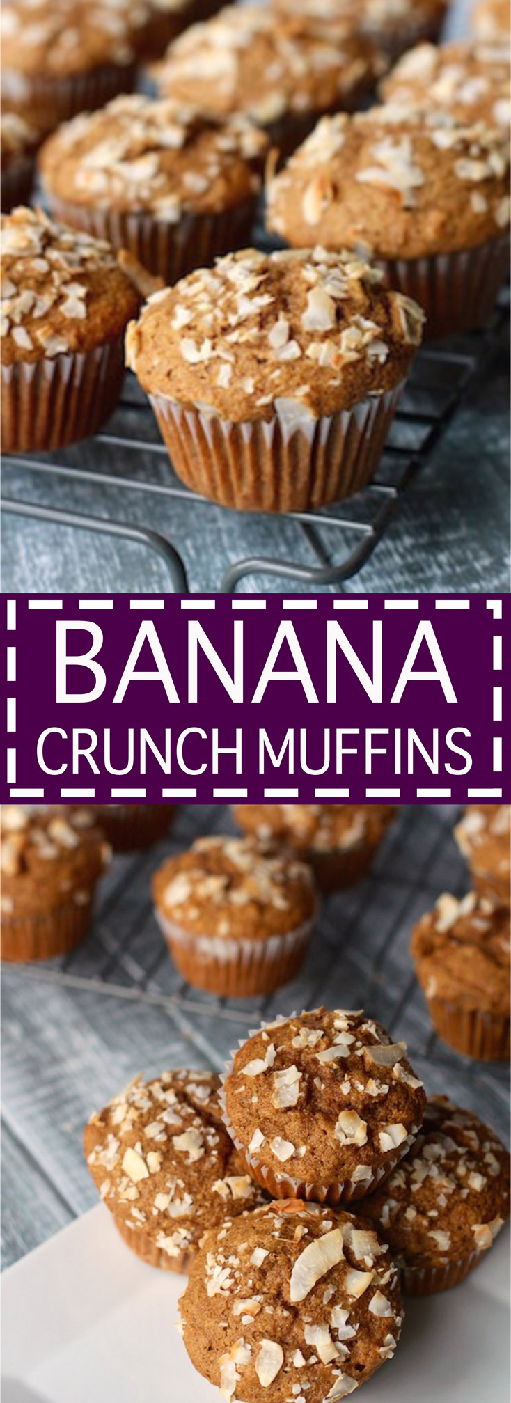 Banana Crunch Muffins- Clean eating friendly and delicious!
