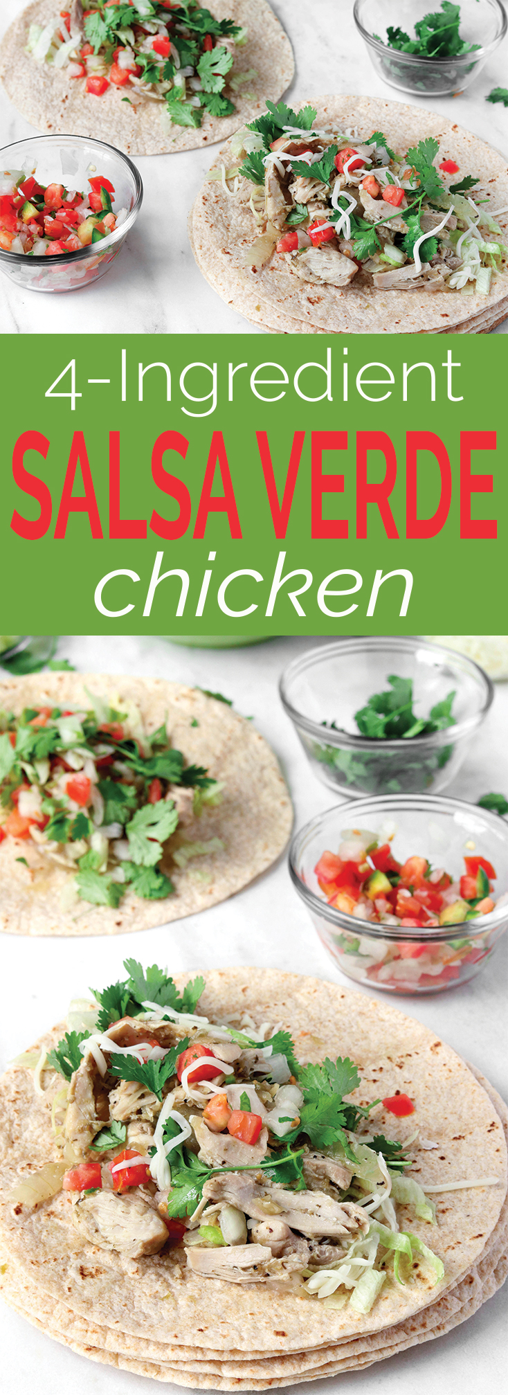 Easy, 4 Ingredient Salsa Verde Chicken Tacos with whole wheat tortillas, shredded cheddar, and spicy pico are healthy, filling and couldn't be simpler to throw together.