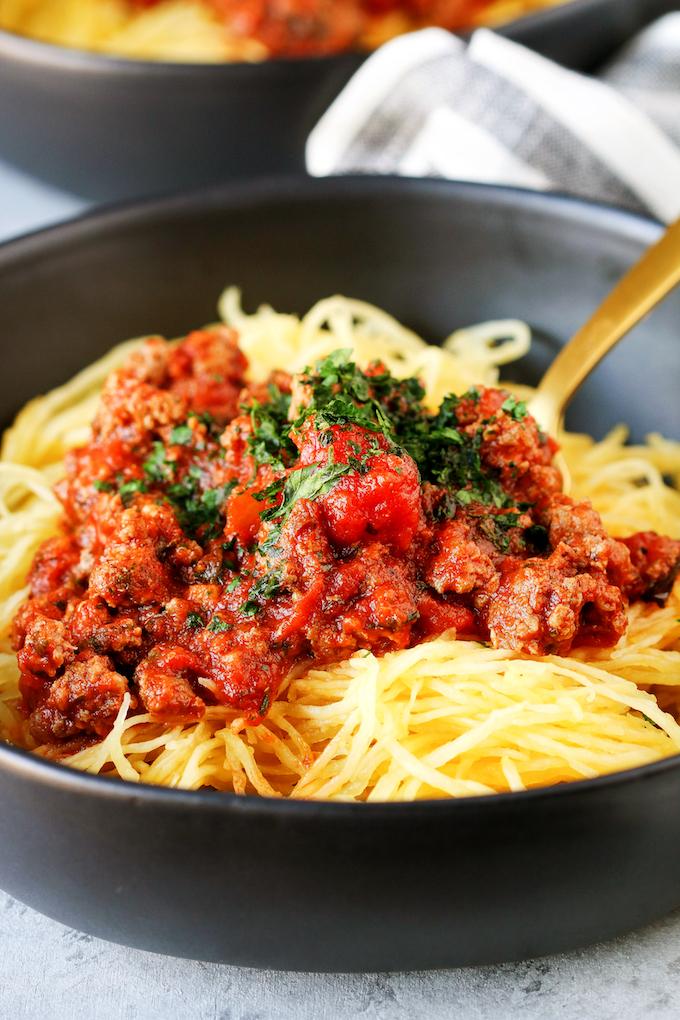 Spaghetti Squash With Meat Sauce Whole30 Compliant