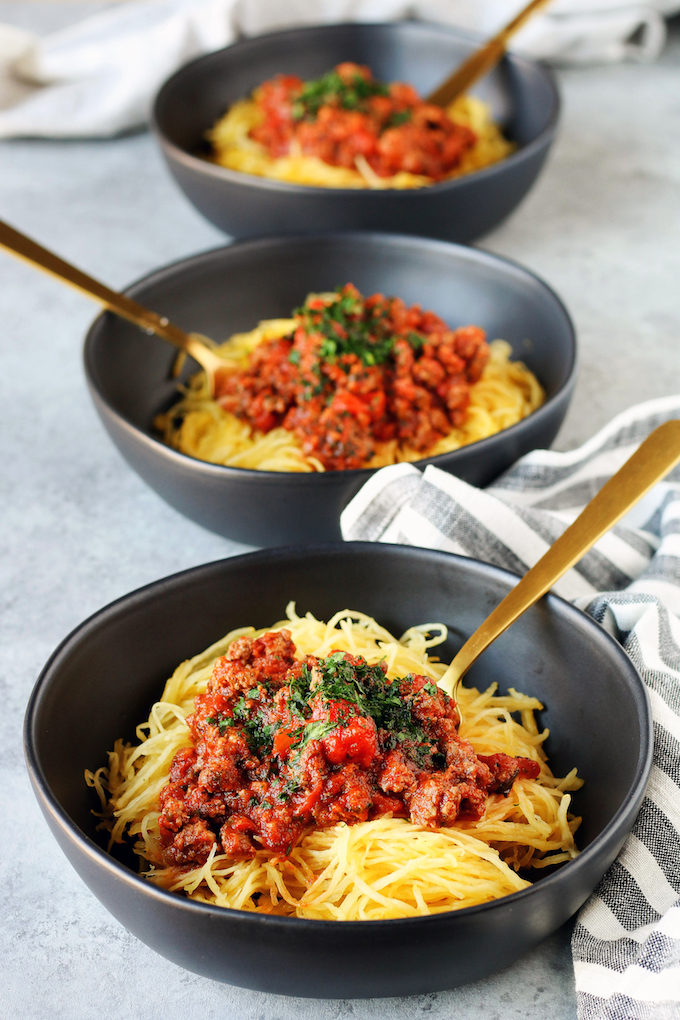 Spaghetti Squash with Meat Sauce in a bowl.