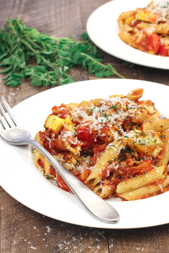 A healthy twist on an Italian Classic. This lightened up version of chicken parmesan is lighter on the cheese and frying and loaded with roasted Italian veggies!