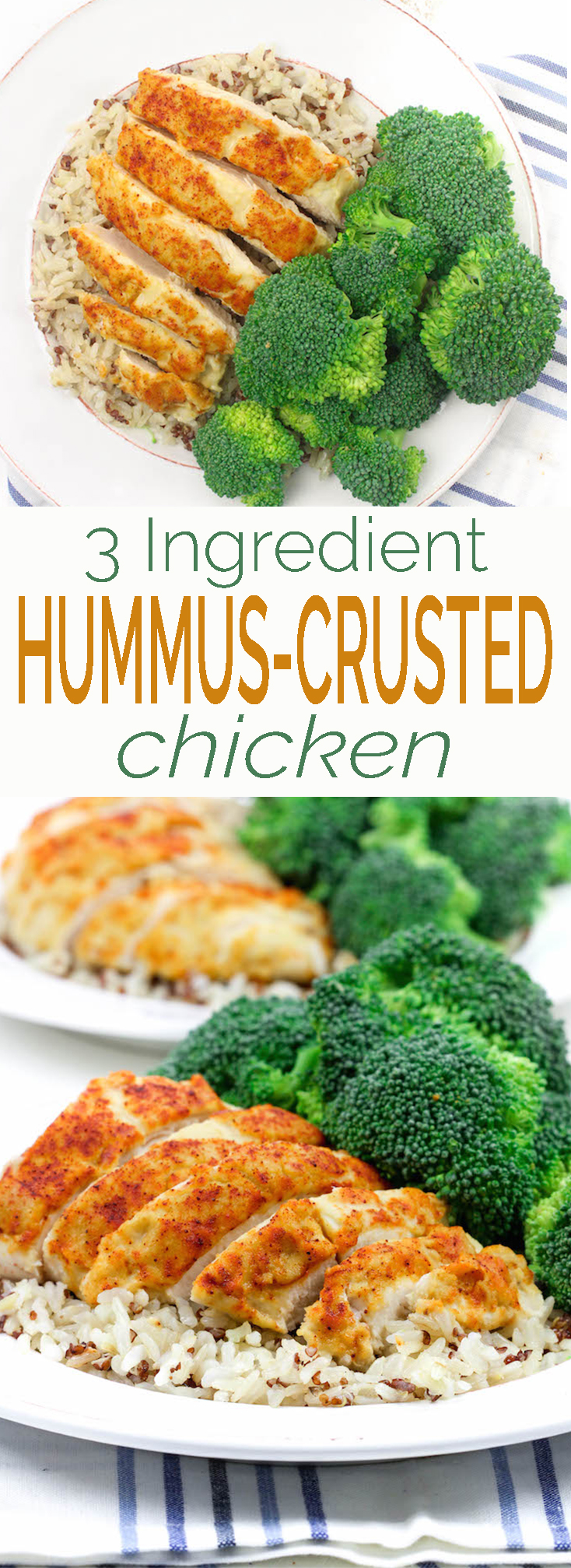 3-Ingredient Hummus-Crusted Chicken is simple, requiring just 5-minutes prep. A healthy whole-food, protein packed, weeknight meal.