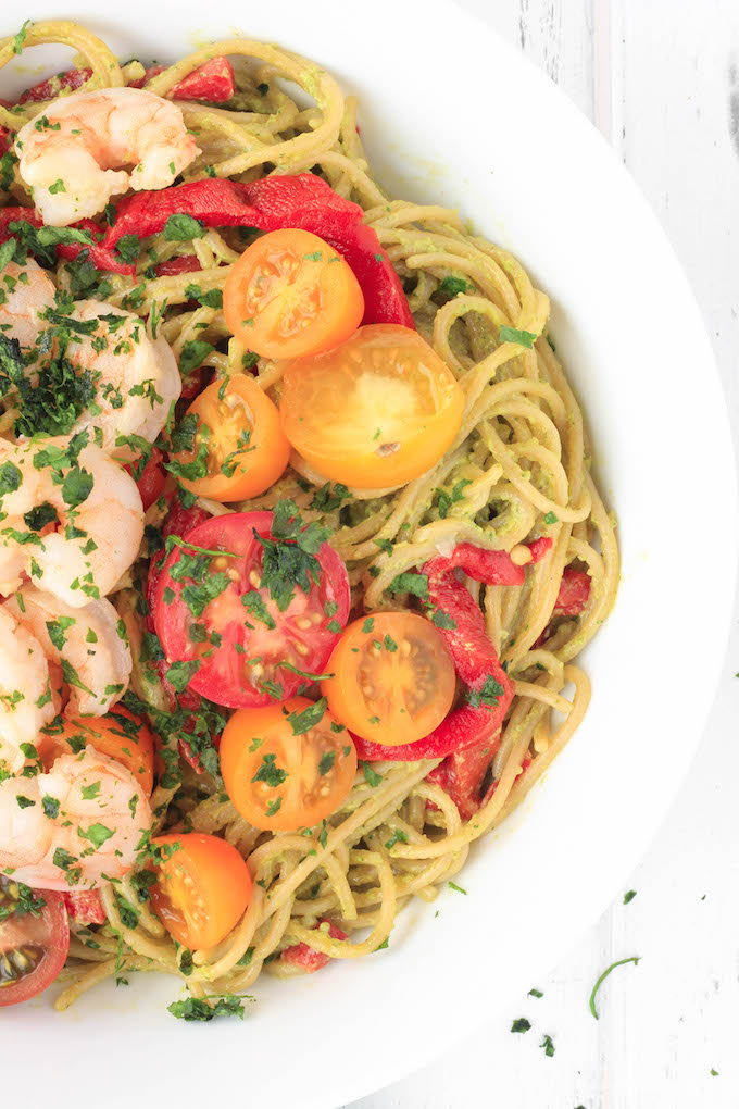 Creamy Avocado Pasta with Garlic Shrimp made with just 10 ingredients! Savory, simple and healthy - perfect for a satisfying weeknight meal.