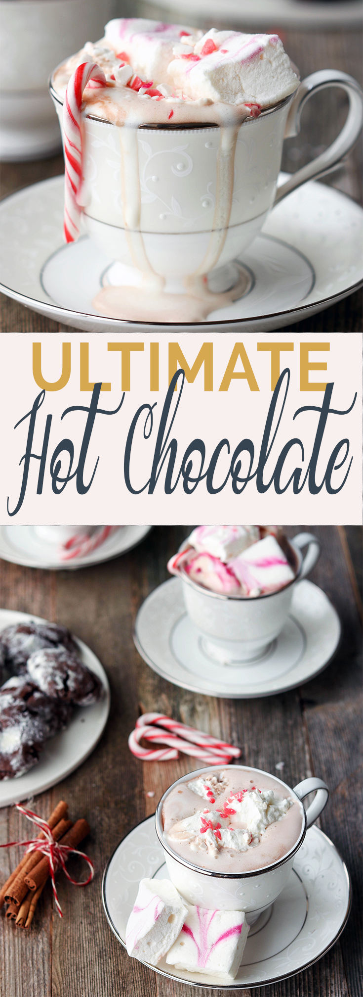 A luscious, creamy hot chocolate made with whole milk, cocoa powder, coconut sugar, vanilla. salt and spices. Serve warm with whipped cream and homemade marshmallows.