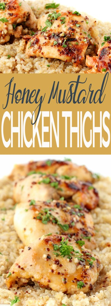 A little spicy, a little sweet, these super quick and easy Honey Mustard Chicken Thighs are the perfect for batch-prepping lunches for the work week or for a simple dinner!