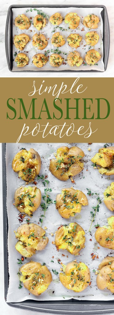Simple Garlic Smashed Potatoes are the perfect throw dish for busy weeknights. Tender golden potatoes are smashed, topped with olive oil, garlic and thyme and then roasted until crispy. A delicious gluten-free and vegan appetizer or side dish!