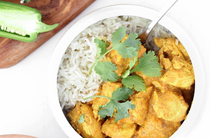 30 Minute, 1 pot Lightened Chicken Tikka Masala with green chili, cilantro, and garam masala. Flavorful, not too spicy and make ahead friendly. A healthy, real food meal.