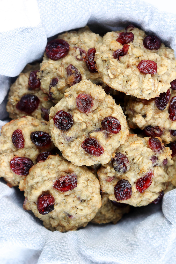 Tender, not-too-sweet Cranberry Muffin Breakfast Cookies made with banana, flaxseed, almond flour and rolled oats. Tasty enough for a mid-day treat, but healthy enough for breakfast.