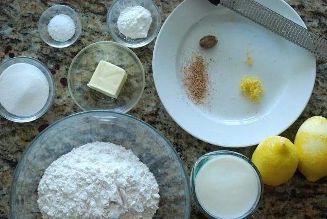 flour, butter, lemon and zest, salt measured ingredients for shortcake