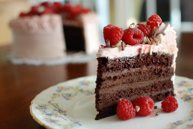 chocolate layer cake with berries