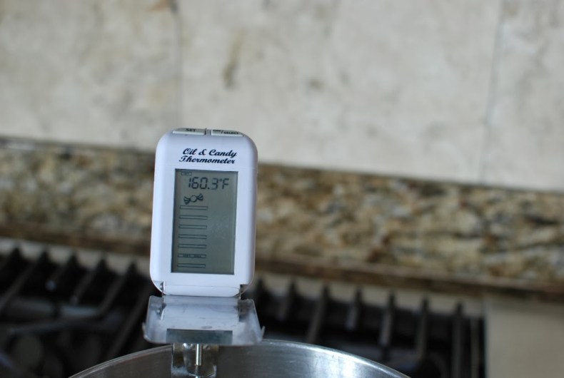 Thermometer attached to mixing bowl