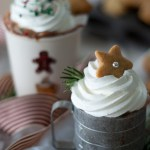 hot chocolate whipped cream star cookie