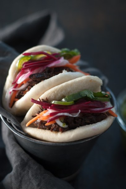 Steamed Banh Mi with beef cheeks and pickled veggies