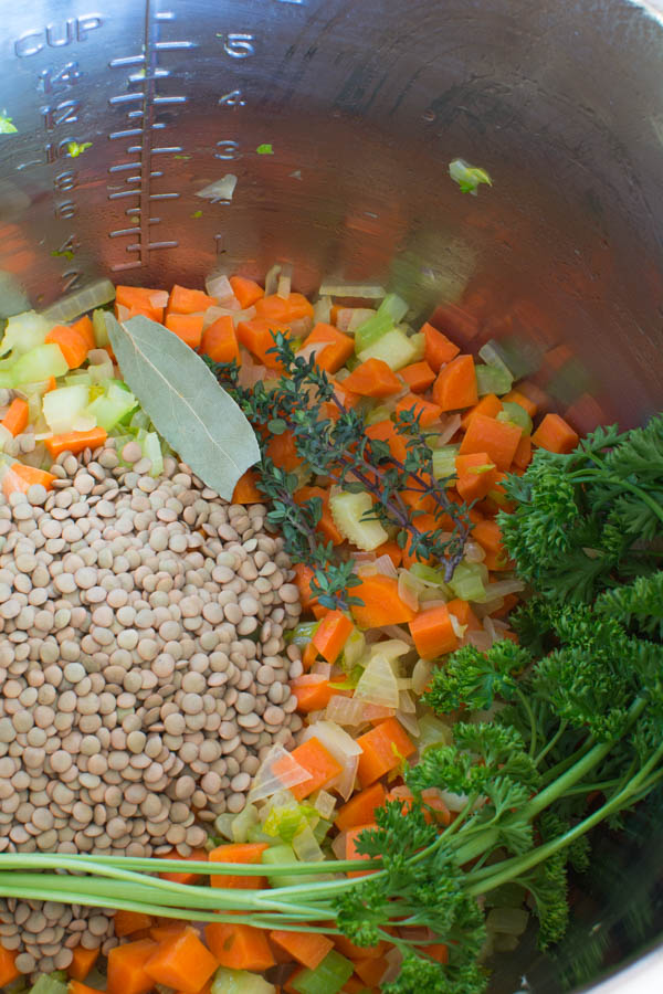 uncooked lentils with veggies