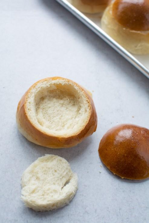 hollowed out Semlor bun