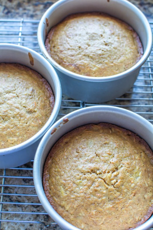 baked carrot cake in tins