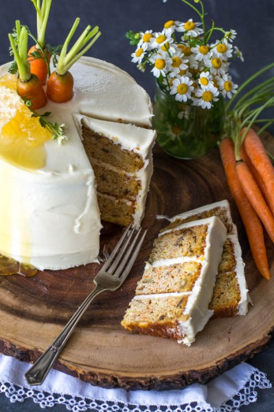 Layered Carrot cake with slices cut
