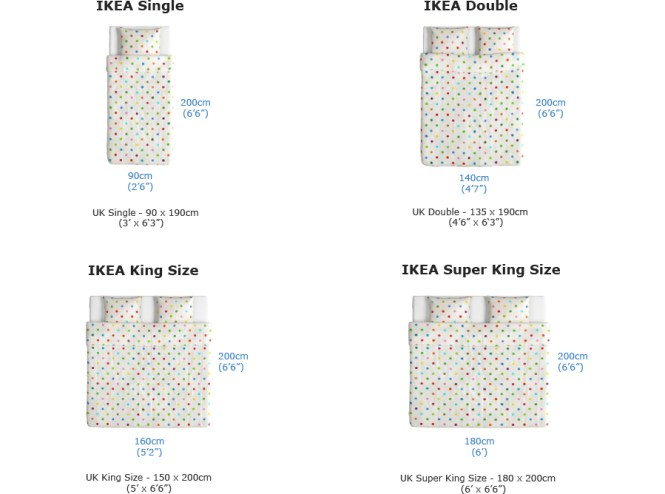 Bed Sizes Both European Uk Standard Sold