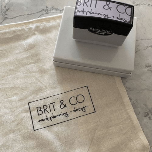 custom pre-inked logo stamp on cloth
