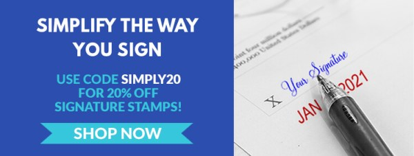 Get 20% Off Signature Stamps with Code SIGNSTMP20, Pen with Stamp Impression Featuring Signature and Date