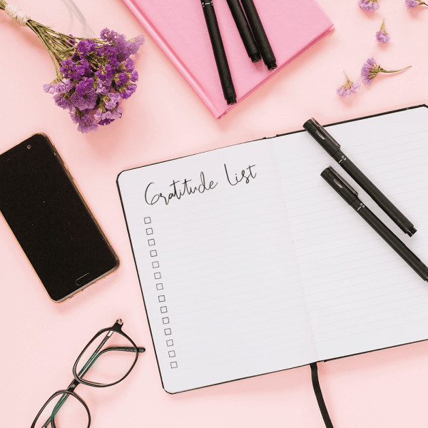 gratitude list with bullet journal stamps