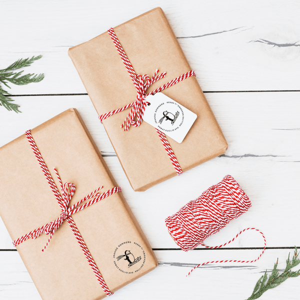 penguin address stamp on gift tag and diy wrapping paper