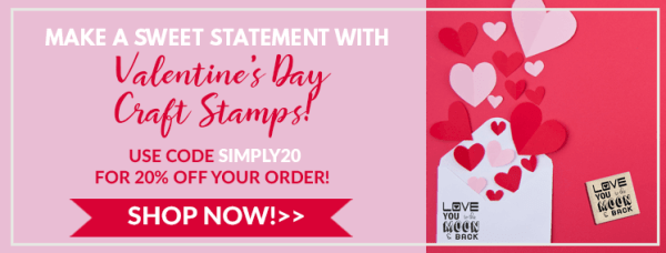 make a statement with valentine's day craft stamps, use code simply20 for 20% off your order