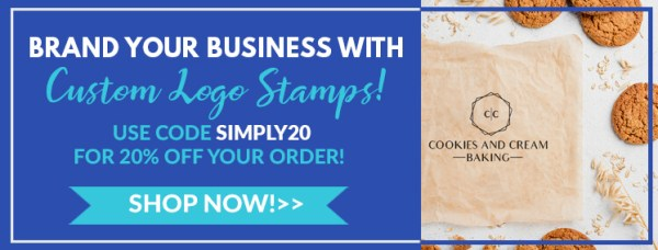 brand your business with custom logo stamps, use code simply 20 for 20% off your order
