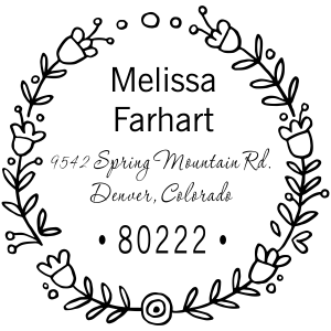 floral wreath address stamp