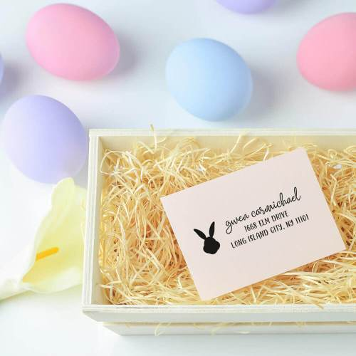 bunny rabbit address stamp in easter basket