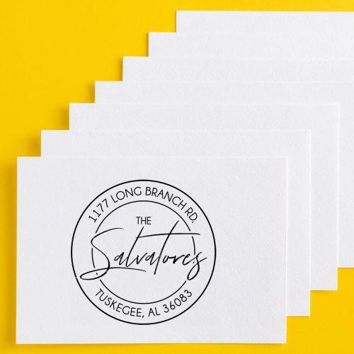custom address stamp on business card
