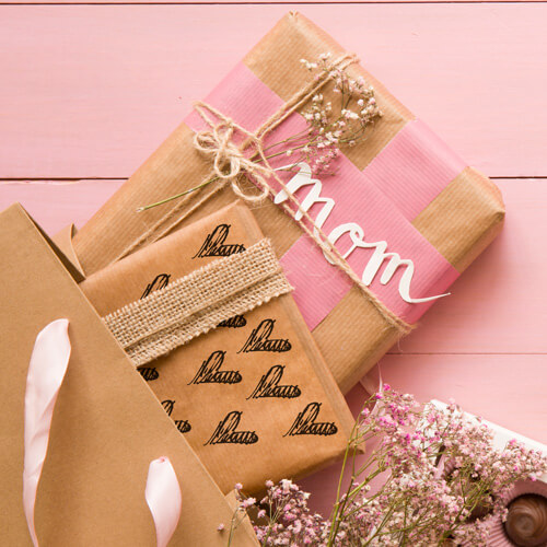 diy wrapping paper with heart stamp