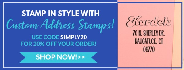 stamp in style with custom address stamps, use code simply20 for 20% off your order, shop now
