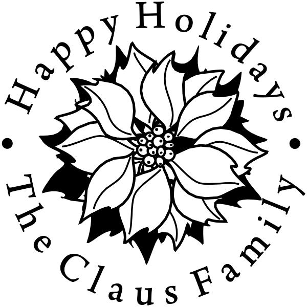 Happy Holidays Poinsettia Custom Stamp