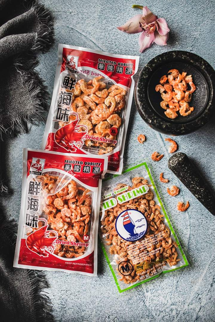 different sizes of dried shrimp in packages