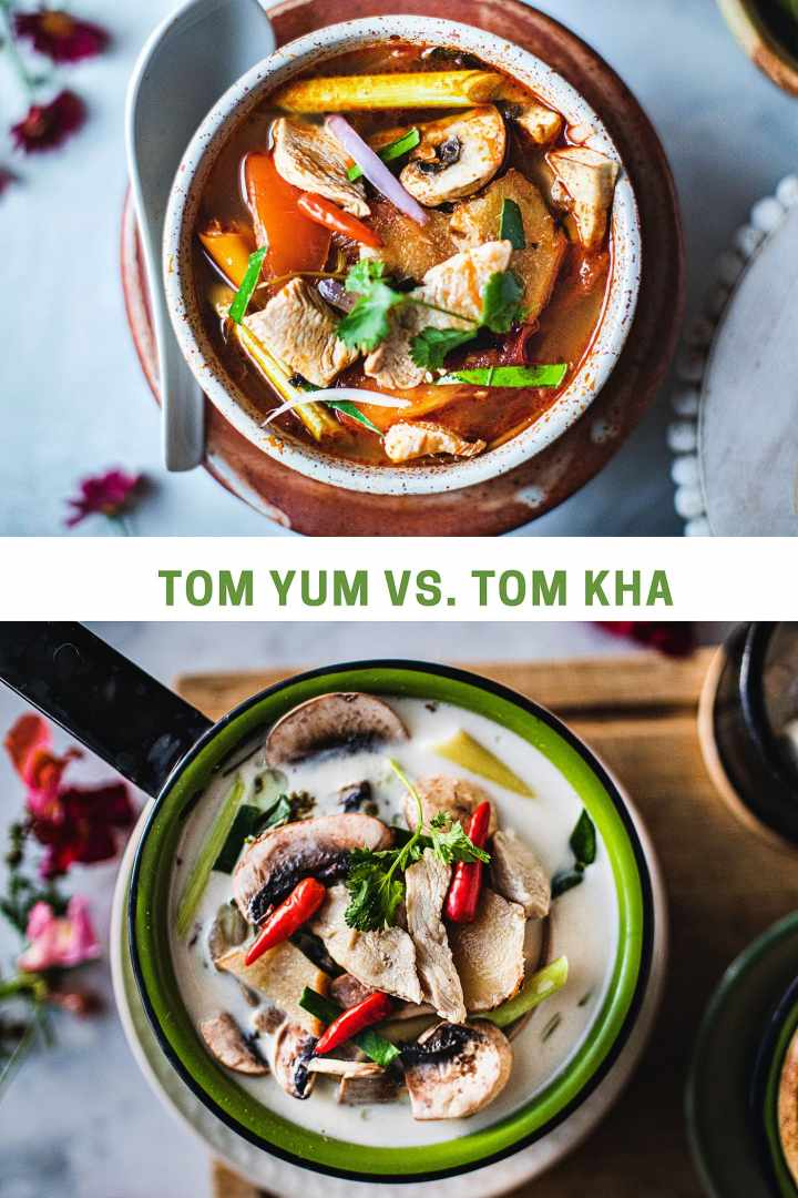 Tom Kha is another very well known Thai soup and it calls for almost the exact same ingredients as Tom Yum soup. The only difference is the use of coconut milk in Tom Kha makes the soup a tiny bit more creamy and slightly sweeter than the boldly sour and salty soup of Tom Yum. #tomyumsoup #tomyumgai #tomkha #tomkharecipe