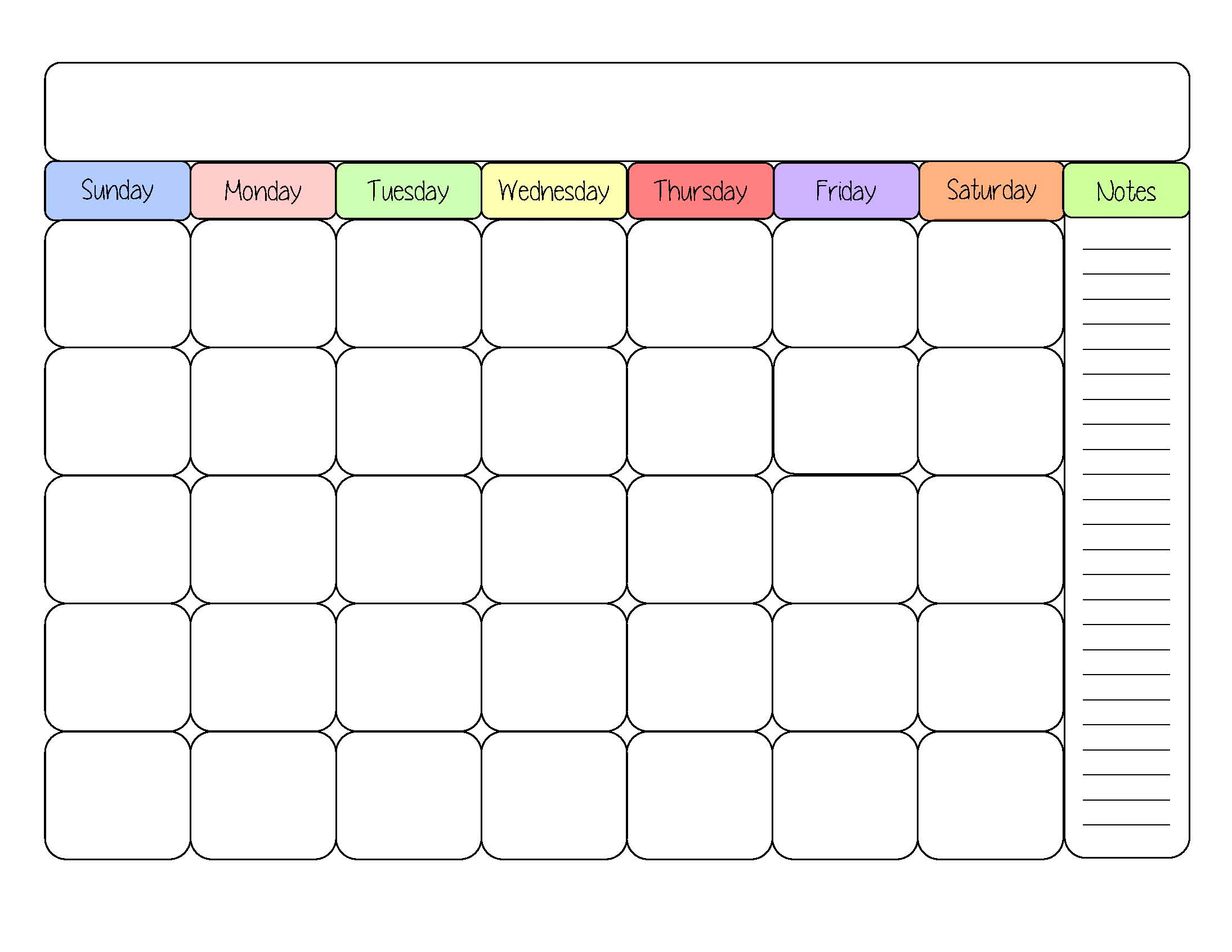 Free Printable Calendar Template Simply Sweet Days