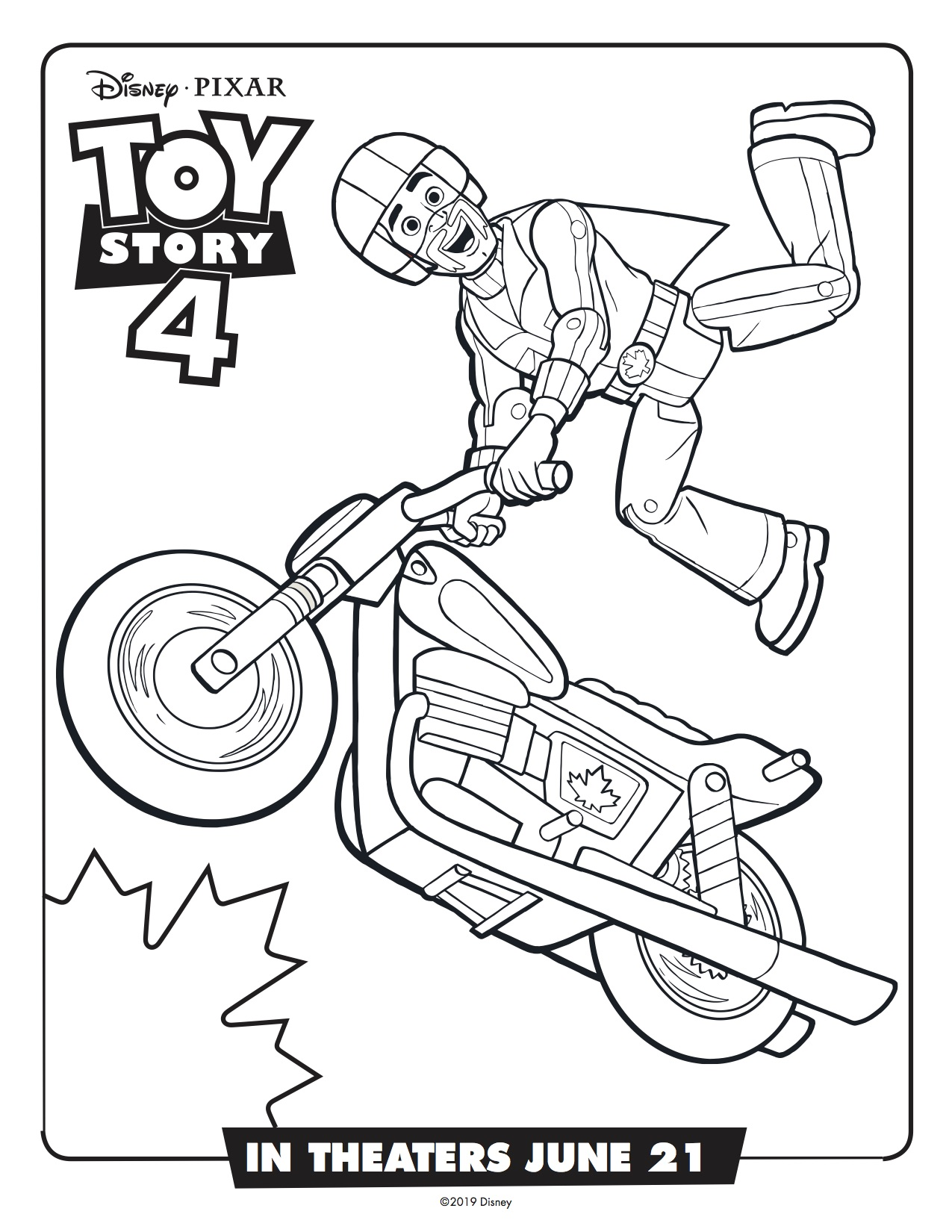 Toy Story 4 Duke Caboom Printable Coloring Page Simply