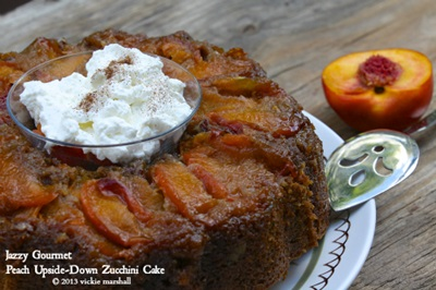 Upside Down Peach Zucchini Cake